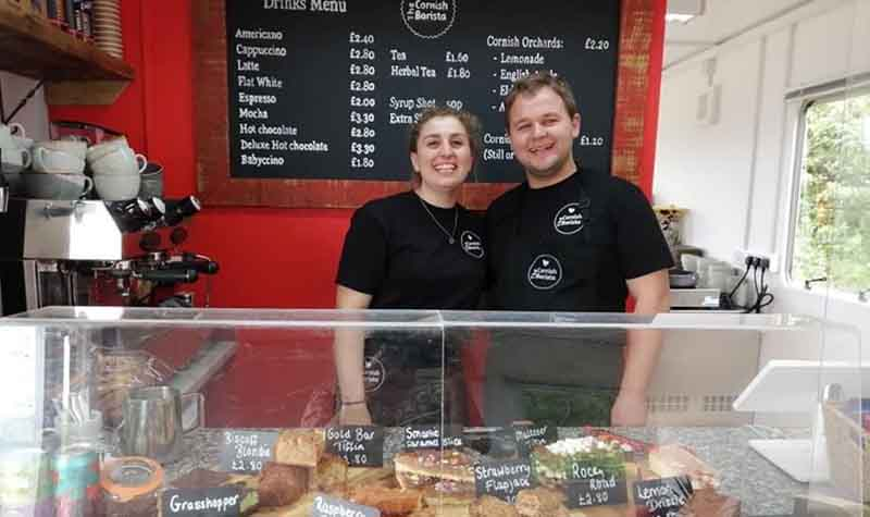 Cornish Barista staff smiling at the Cafe at Via Ferrata Cornwall