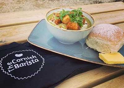 Soup with bread served by The Cornish Barista
