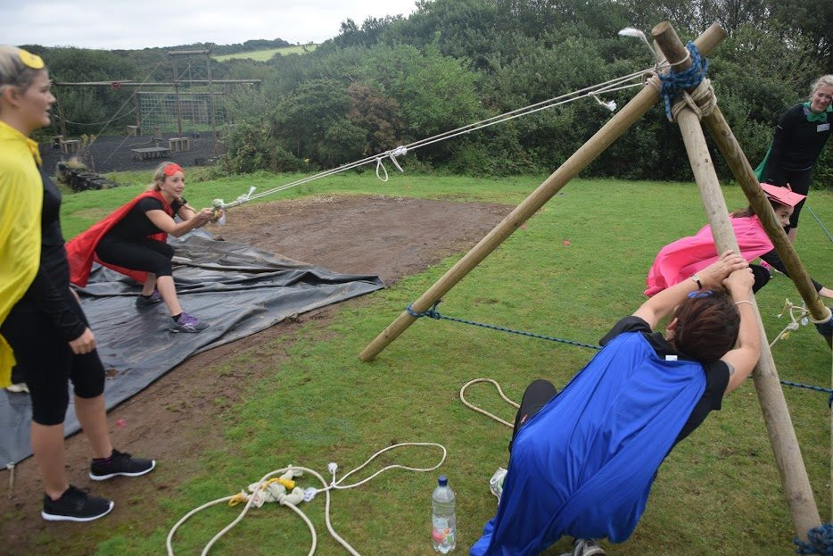 Teambuilding with giant catapults at Cornwall's Business Challenge Event at Via Ferrata Cornwall